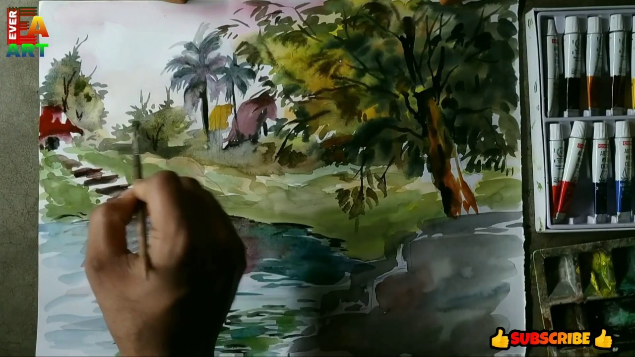 Easy nature in water colour village side pond painting in water colour ever art