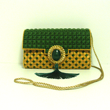 Emerald Green and Gold Purse