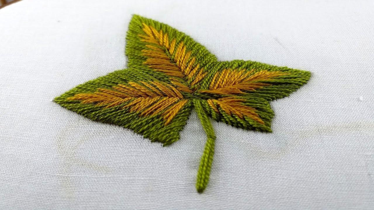 Hand Embroidery Satin Leaf Stitch Design Leaf Design Tutorial