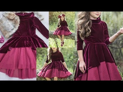 DIY Designer Winter Wear Velvet Baby Frock Cutting And Stitching Full Tutorial