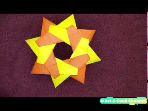 Robin Star of 8 details by Art & Cook Channel - Origami Tutorial| Modular Origami Star (Easy)