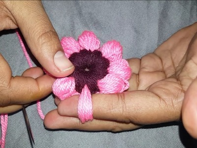 Amazing Finger Trick Flower By Hand Embroidery. amazing tricks Design