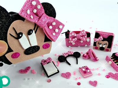 DIY Miniature Minnie Mouse School Supplies - NO SEW DIY - Disney Minnie Mouse Bowtique