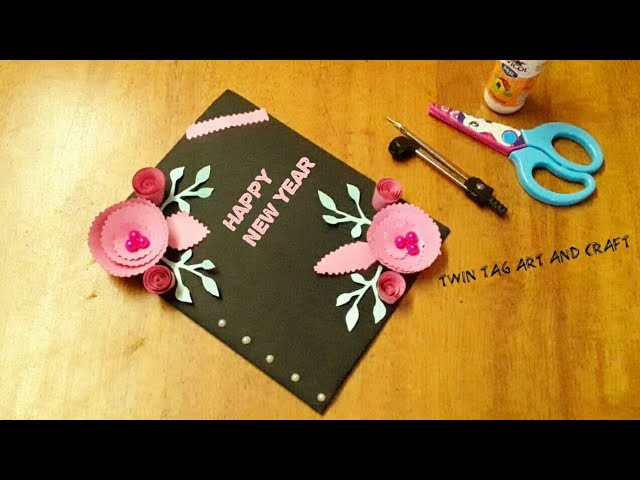 New year greeting card|| How to make greeting card for new year||Beautiful Handmade Greeting Card.