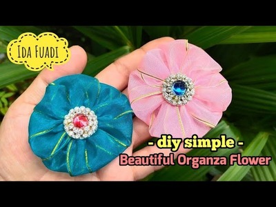 159) DIY | Organza flower for beginners || Organza Flower Tutorial || Simple Organza
