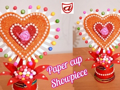 Best Showpiece and Gift idea out of waste paper cup  | Valentine's Day special craft 2019