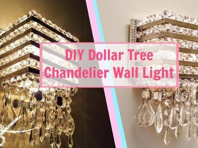 DIY Dollar Tree Chandelier Wall Light   Wall Sconce   DIY Wall Decor   Wall Lamp   Light Fixture  