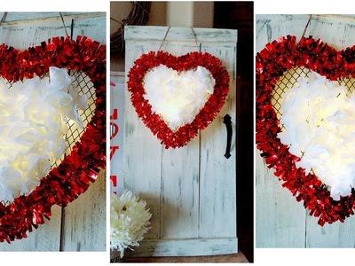 DIY Dollar Tree Illuminating Floral Heart | Valentine's Day Home Decor