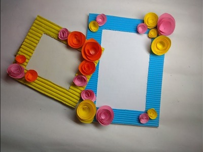 DIY. How to make photo frame at home.Cardboard photo frame. Best out of waste. DIY photo frame