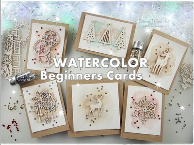 Easy Eco Watercolor Chipboards Christmas Cards for Beginners ♡ Maremi's Small Art ♡