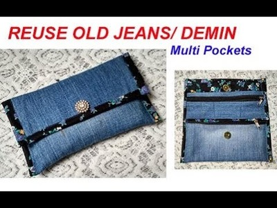 Style2 REUSE OLD JEANS -5 minute Designer party ladies purse making cutting and stitching in Hindi