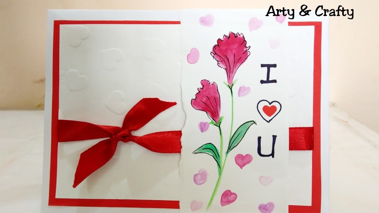 Beautiful Handmade Valentine's Day Card. DIY Greeting Card for Valentine's Day by Arty & Crafty