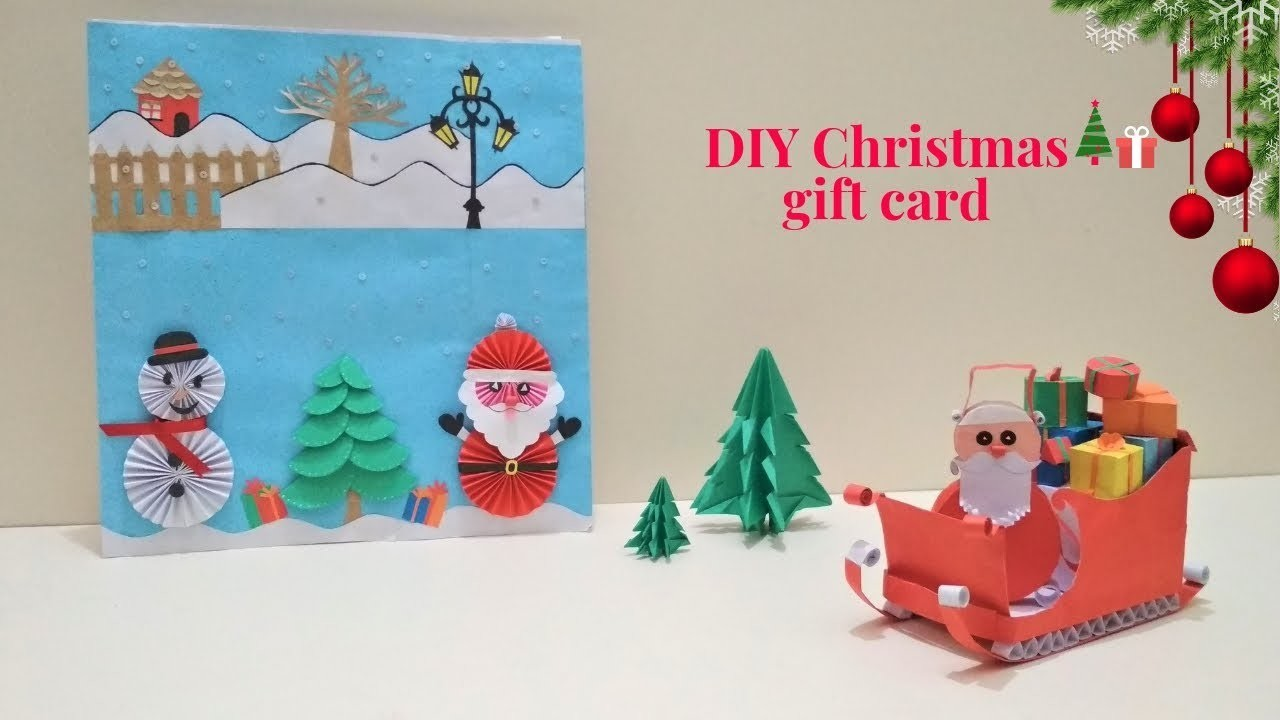 DIY Christmas gift card|Holiday Card|Snowy scenes for Christmas Cards|Winter crafts for kids