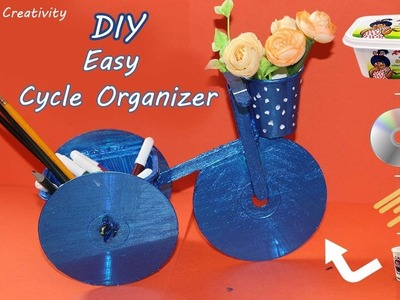 DIY Cycle Organizer Using Old CDs - Recycling Crafts - Waste Material craft