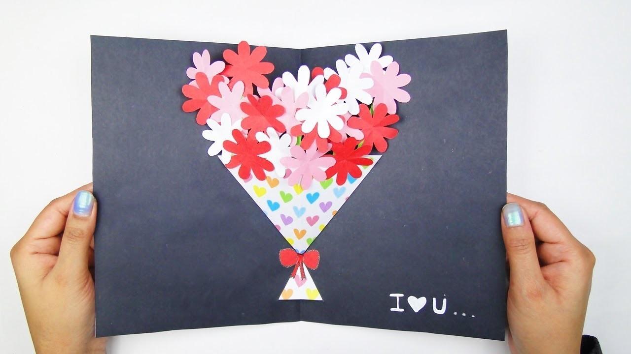 DIY Flower Bouquet Pop Up Card-Paper Crafts-Handmade Craft-Valentine's Day Card !