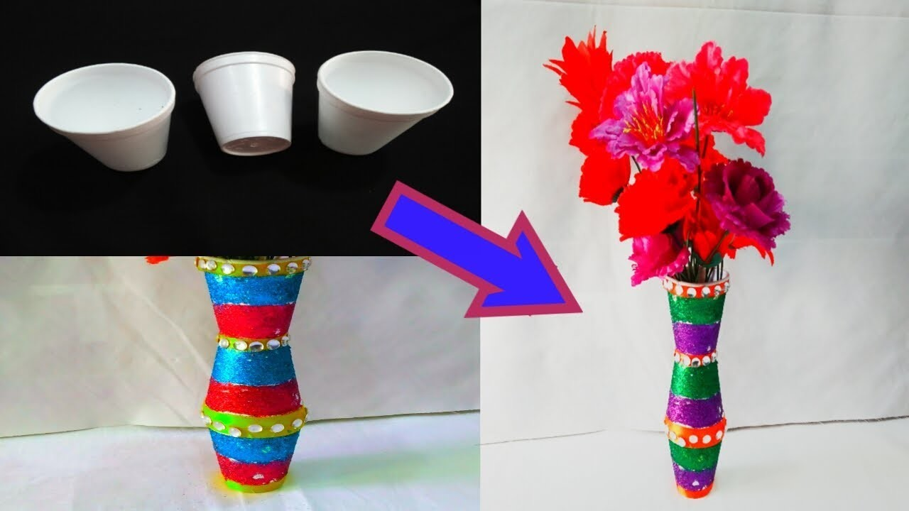 DIY-FLOWER VASE WITH THERMOCOL GLASS. HOW TO MAKE FLOWER POT FROM THERMOCOL GLASS.EASY FLOWER POT