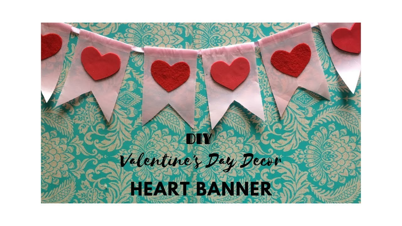 DIY Heart Banner. Pennant | Home Decor | SimplyPretty Creations | Valentine's Decor 2019- Ep 2 |