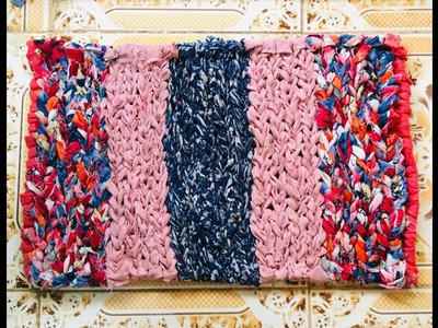 DIY , HOW TO MAKE DOORMAT WITH OLD CLOTH | HOW TO MAKE DOORMAT AT HOME | DOORMAT WITH WASTE CLOTH