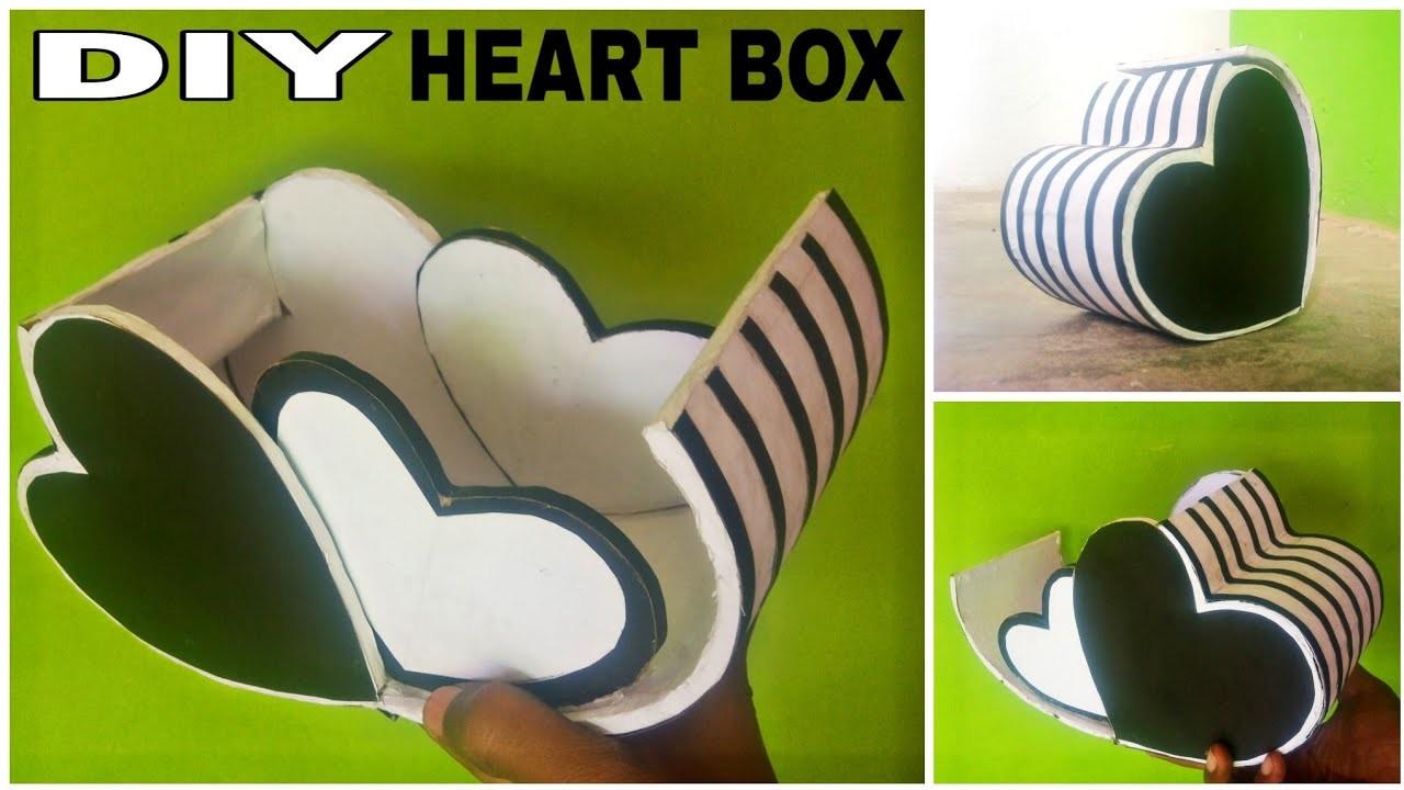 Diy jewellery box    Heart shape jewellery box    best out of waste from cardboard