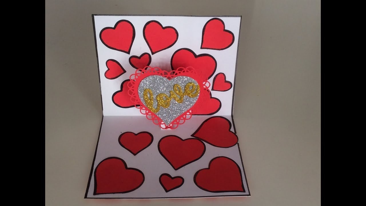 DIY Love pop up card Tutorial.How to make a love card for loved ones.I love you card ideas.Valentine