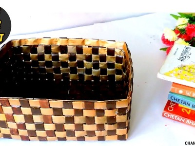 DIY Newspaper Basket || How to Make a Basket or Organizer From Newspaper || Newspaper Craft Ideas ||