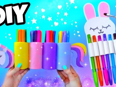 DIY SCHOOL SUPPLIES desk organizer | RECYCLED crafts for kids ♻️