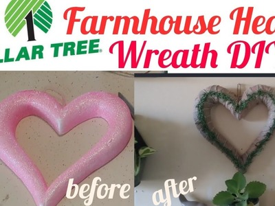Dollar Tree Valentine's Farmhouse Neutral Heart Wreath  DIY