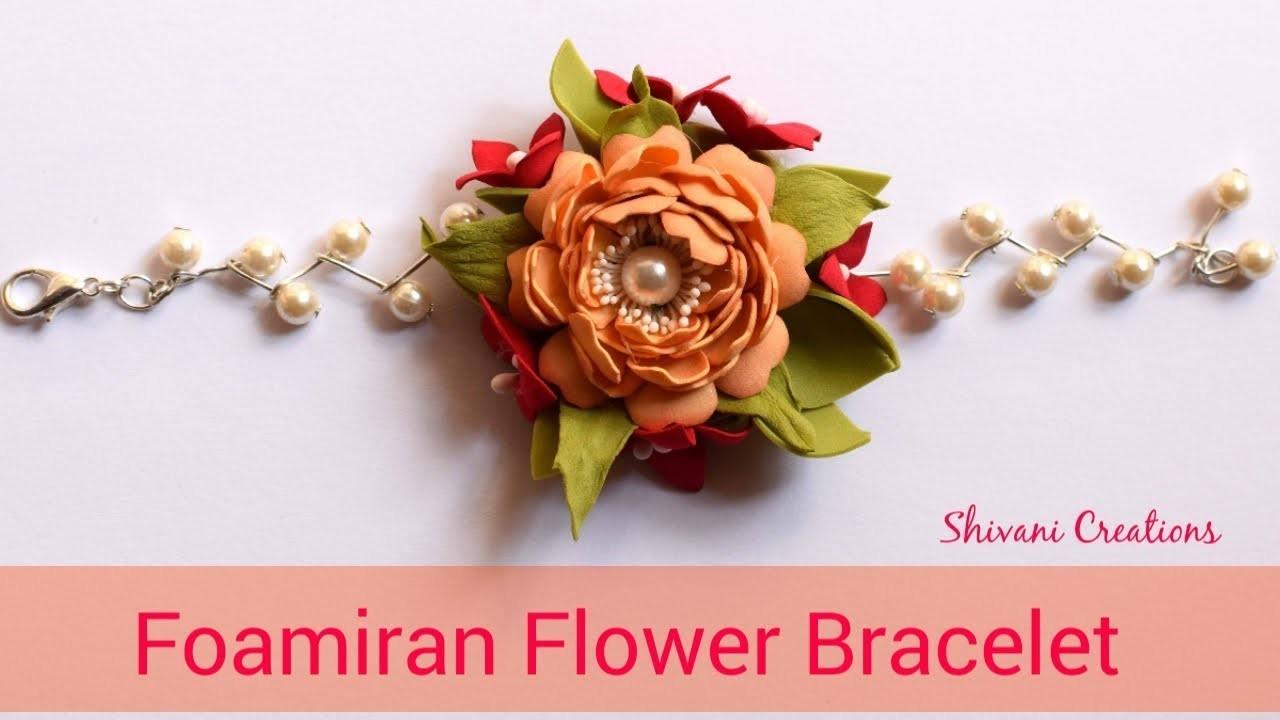 Fomiran Flower Bracelet. How to make Foam Flower Bracelet. Handmade Accessories. DIY Pearl Bracelet