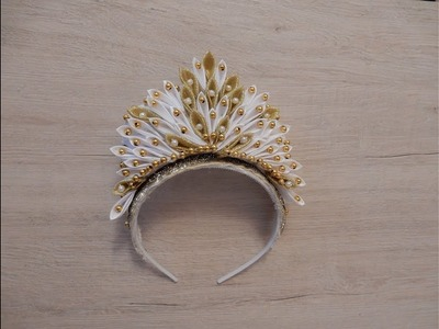 How to make a ribbon crown Christmas DIY Kanzashi Crown MK