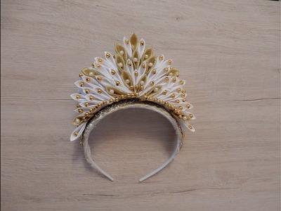 How to make a ribbon crown Christmas DIY Kanzashi Crown MK