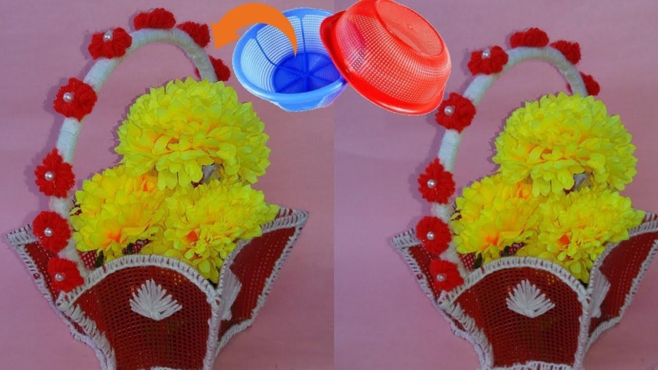 How to make flower basket \\best out of waste plastic basket\\diy reused ideas
