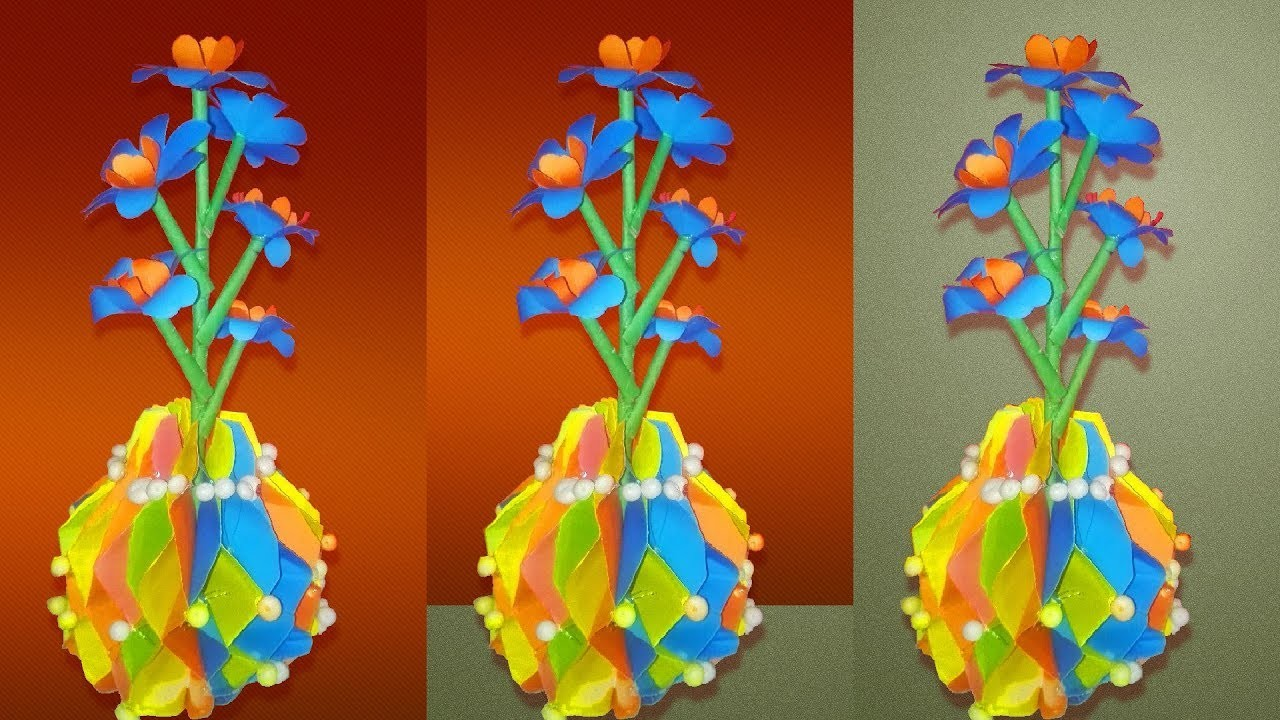 How to make Honeycomb styled paper flower vase | DIY Simple Paper Craft
