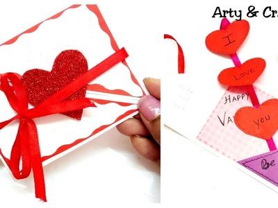Beautiful Handmade Valentine's Day Card. DIY Greeting Card for Valentine's Day.Scrapbook Card Idea
