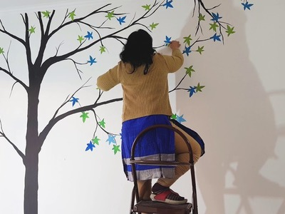 Create Tree On Wall With Craft and Paint | Wall Painting by Babita Keshan