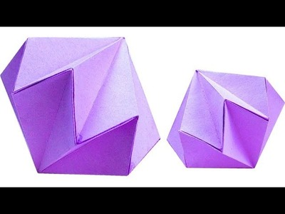 Crystal diamond with paper Simple Easy Tutorial. Origami art & craft ideas for kids 5 minute craft