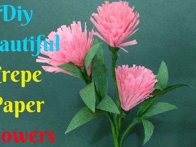 Diy Beautiful Crepe Paper Flowers | Craft Flower Making of Crepe Paper | Home Diy Crafts Paper
