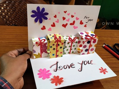 DIY Cute gift box pop up  Card | Handmade Pop Up Card for Valentine's Day