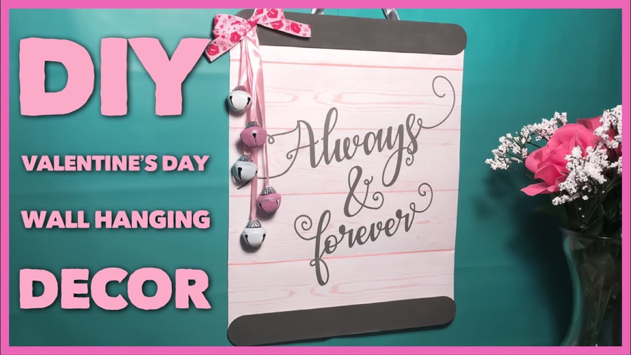 DIY Hanging Valentine's Day Decor Sign - Dollar Tree Decoration Using A Gift Bag
