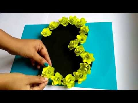 DIY Heart Greeting Card with flowers | Easy Handmade Card Tutorial