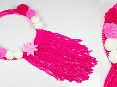 Diy paper flower and woolen wall hanging | Woolen Craft | Wall Decoration Ideas