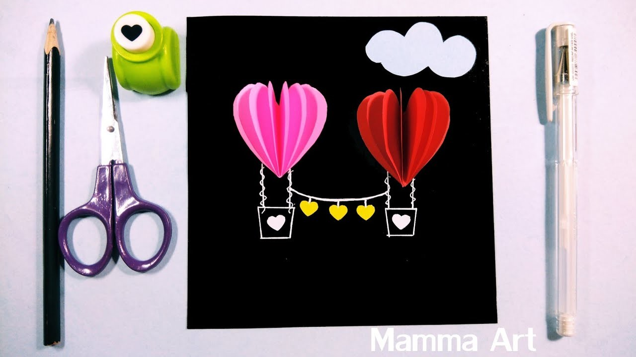 DIY Valentine's Day Gift | 3D Heart Hot Air Balloons Card