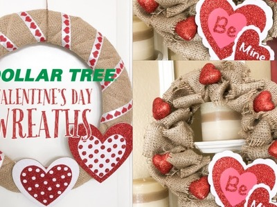 DOLLAR TREE DIY | VALENTINE DECOR | SIMPLE BURLAP VALENTINE WREATHS