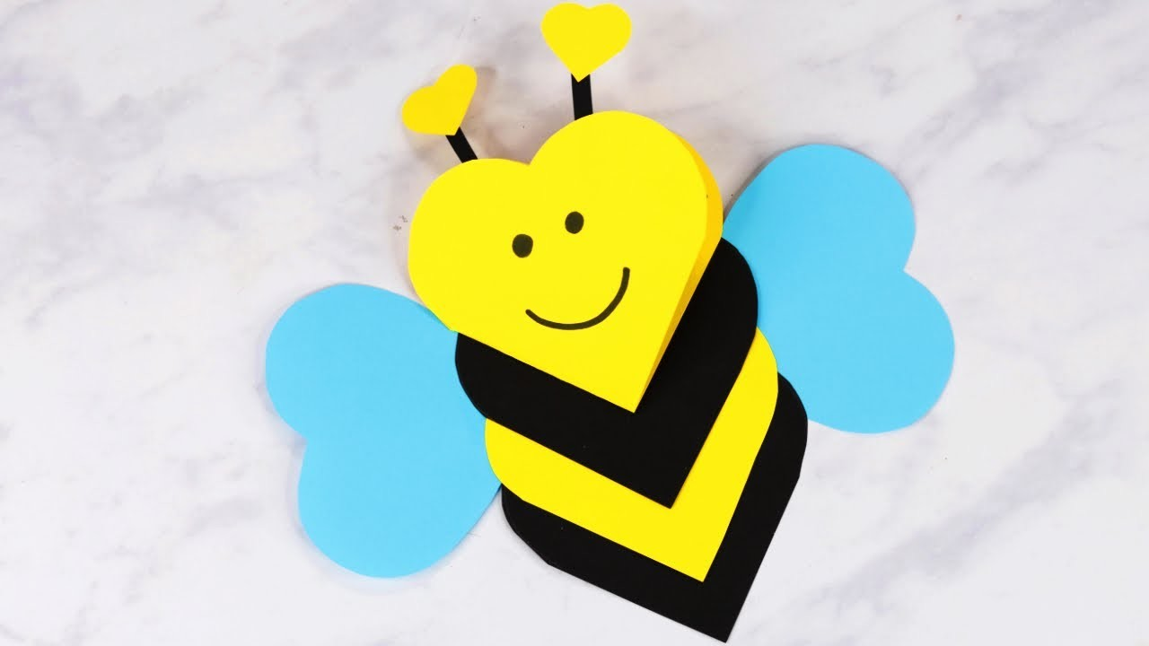 How to Make Heart Shaped Bee Valentines Day Craft for Kids