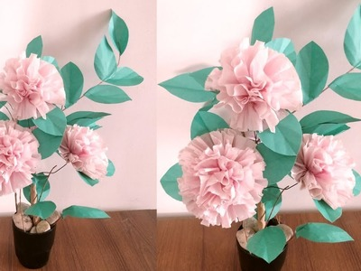 How To Make Round Tissue Paper Flower | DIY Paper Craft