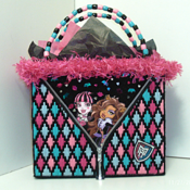 Pink,Turquoise and Black Tote bag