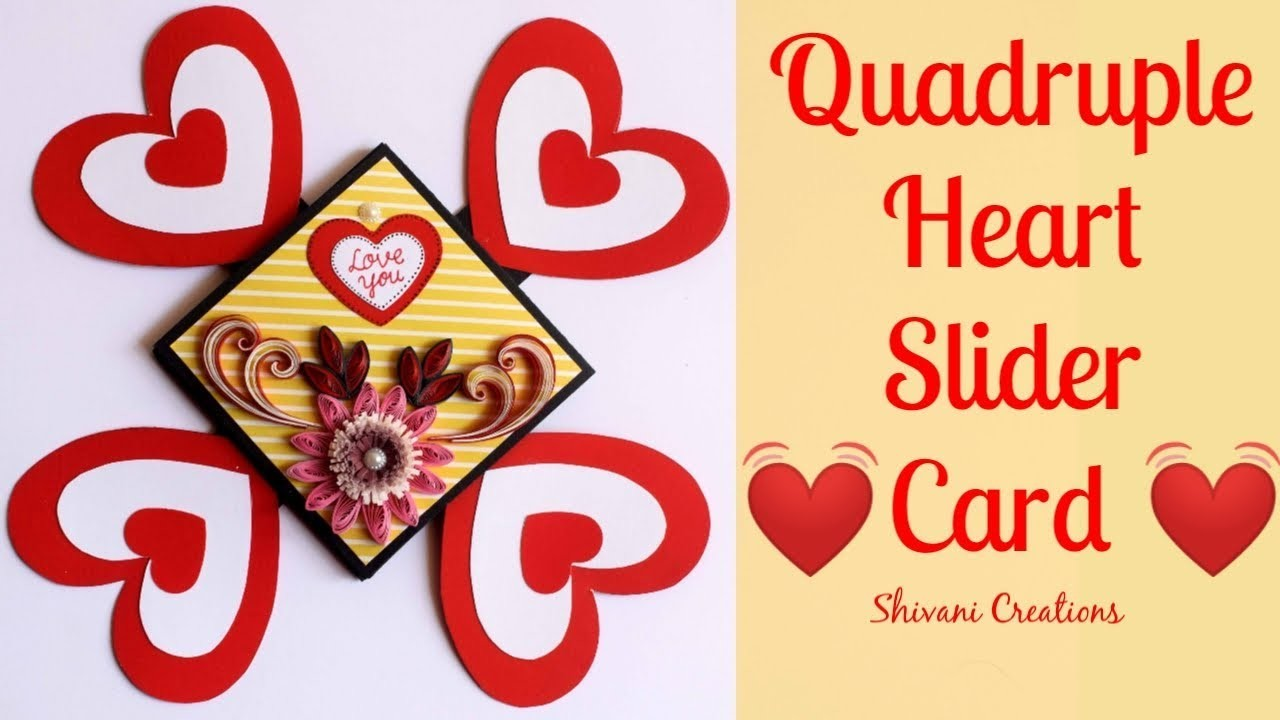 Quadruple Heart Slider Card. DIY Card for Valentine's Day. How to make Anniversary Card