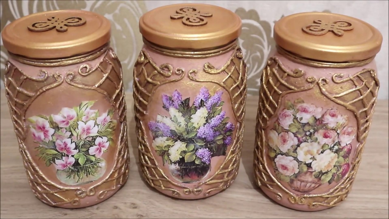# 4 DIY decor | Recycled glass jars|Decoupage of Kitchen Cans