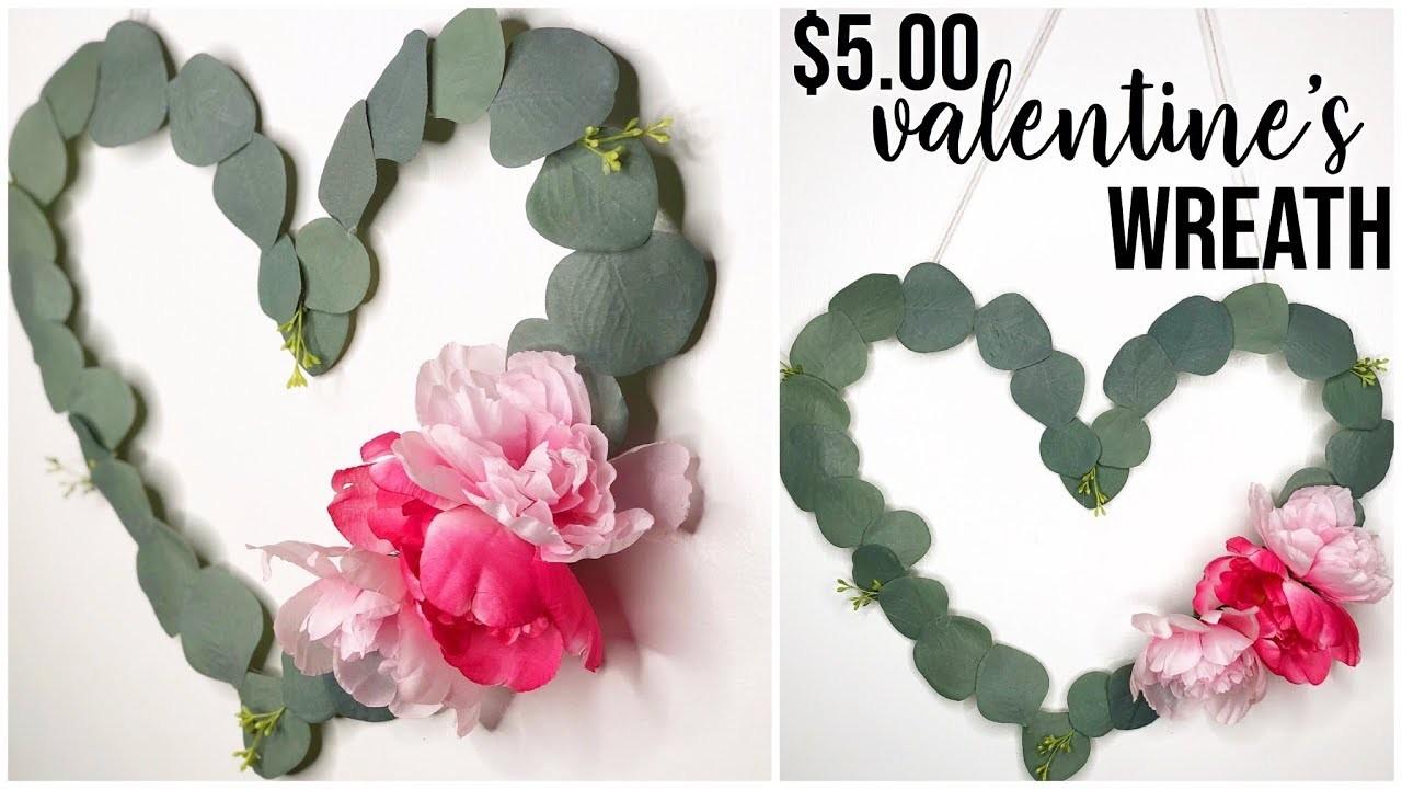 Dollar Tree Valentines Day Wreath DIY   Farmhouse Shabby Chic