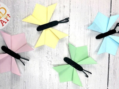 Folded Paper Butterfly Craft - Step By Step Paper Butterfly Wall - 3d