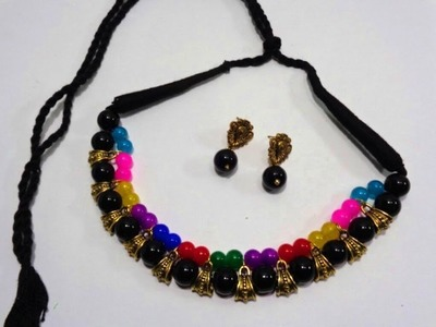 How to Make Antique Glass Beads Necklace  -  Making Fashion Jewellery  -   DIY Necklace Making Idea